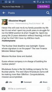 Breaking News Gigaba has signed nuclear deal