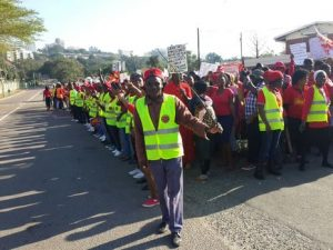 Angry shack dwellers march on Durban city hall on Monday: protesting about mayor's politics of lies and oppression