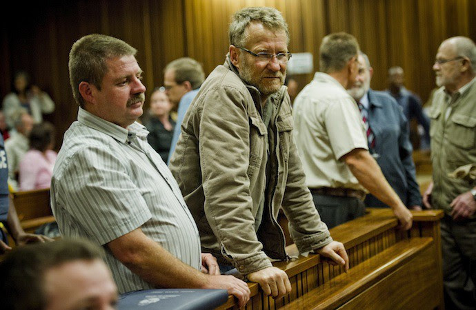 PRETORIA, SOUTH AFRICA - OCTOBER 28: Koos du Plessis at the Pretoria High Court on October 28, 2013, in Pretoria, South Africa. Of the original 23 Boeremag members arrested, two have passed away and one has been released on parole. The remaining stand accused of murder, attempted murder, terrorism, high treason, and the illegal ownership of weapons and ammunition. The Boeremag conspired to overthrow the South African government by means of violence. (Photo by Gallo Images / Foto24 / Theana Breugem)