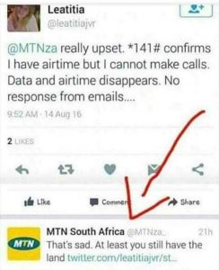 At Least you still have the land - MTN gives racist comment to customer: This only happens in SA!