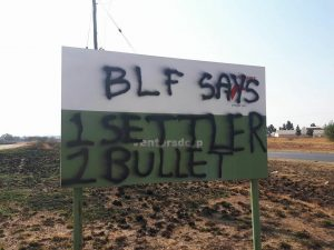 Ventersdorp is defaced with hate speech on road signs and walls