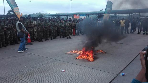 MK vets burn apartheid SA flag at picket