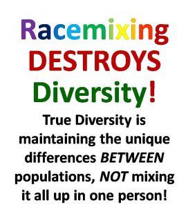 Racemixing destroys diversity