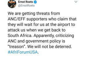 Ernst and Kallie threatened by ANC, EFF supporters
