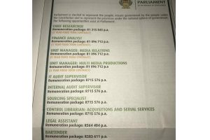 It pays to work for parliament - barman at Parliament earns R24000 a month!