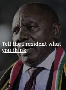 Tell the president what you think....