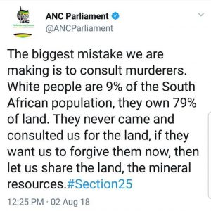 ANC is busy with the encouragement of white genocide