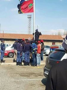 Pictures of EFF members hoisting a flag at Masakeneng Apel police station has angered many