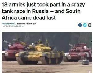 SANDF a disgrace after it came dead last in a tank race held in Russia