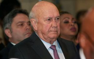 FW de Klerk says white people in South-Africa will be forced to leave the country