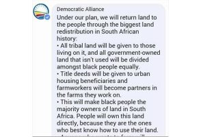 Stealing land? DA wants to give the land to black people