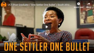 Double standards of racism - 'One Settler One Bullet': UCT student congratulated by vice chancellor - Can you just imagine if a white student had done something similar referring in anyway to blacks?