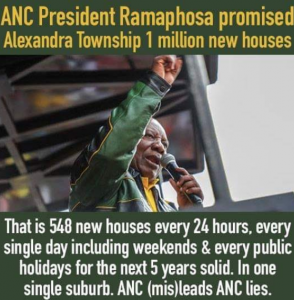 Ramaphosa promises 1 million houses and tablets for Alexandra residents over next five years