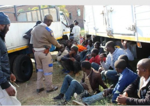 Illegal migrants from Malawi heading for Johannesburg, found hiding in back of truck during a stop-and-go operation