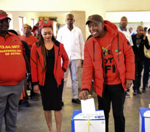 Malema slams patriarchy after his wife was asked to take out fake manicured nail with scissors before at voting point