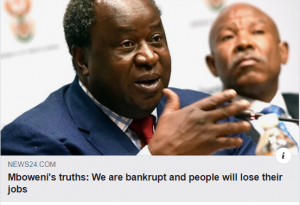 Mboweni's truths: We are bankrupt and people will lose their jobs - If you ever doubted that South Africa's economy was in deep, deep trouble, doubt no more