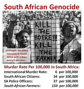 South-Africa: Since apartheid was abolished, 1,000,000 people have been raped and 500,000 killed in this country governed by the ANC-regime