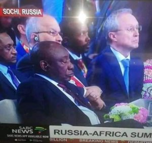 SA President Ramaphosa caught sleeping at Russia-Africa summit
