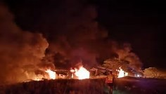 Van Reenen up in flames- traffic came to a halt after explosion on the famous route
