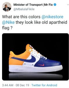 "Mbalula fixated on the ""old SA flag"" - When you see the so-called apartheid symbol even in sports shoes, you must know there is something wrong upstairs"