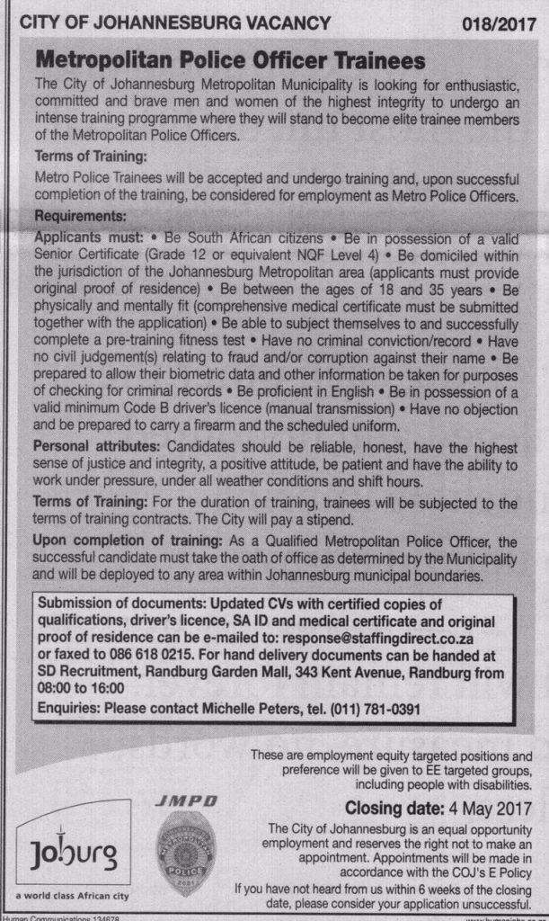 JMPD Job advert