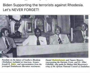 Biden supports terrorists in Rhodesia