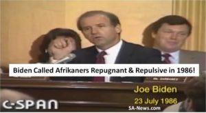 Joe Biden calls Afrikaners repugnant and repulsive